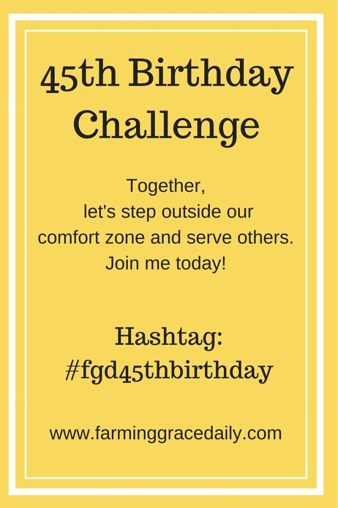 45th Birthday Challengehashtag- #fgd45thbirthday