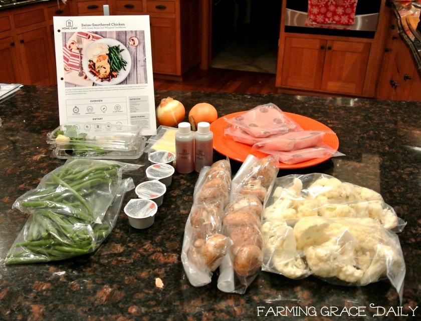 Home chef meal chicken green beans cauliflower