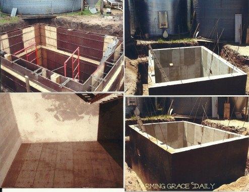 concrete pit grain bin farm