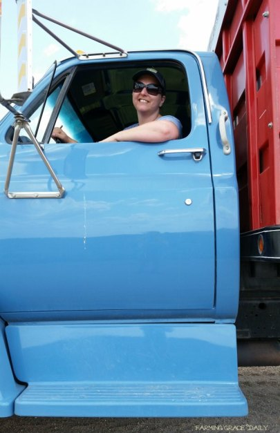farm wife truck driver wheat harvest